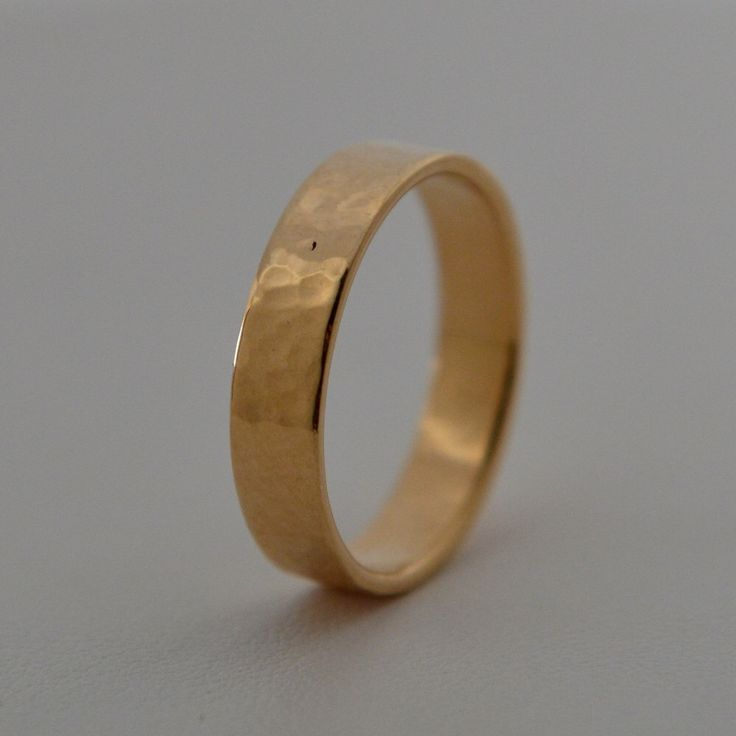 Hammered 14k Yellow Gold Wedding Band For Him Handmade In Maine By HarvestGoldJewelry On Etsy