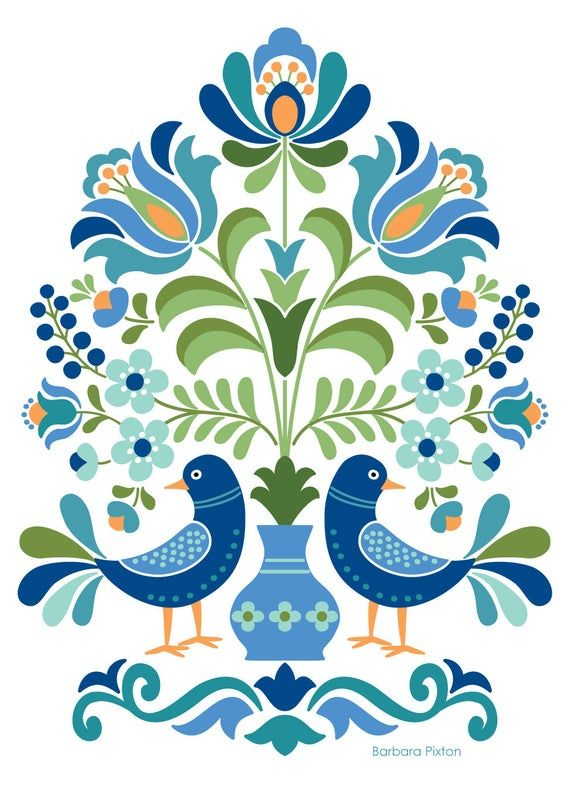 Hungarian Folks Artwork Print Blue Birds