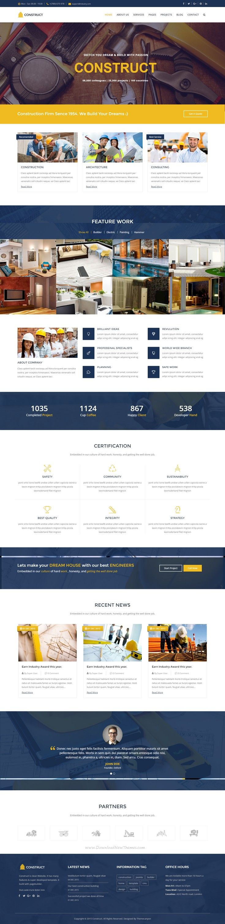 Construct is a business template designed specifically for #construction, building companies and those that offer building services. #bootstrapthemes