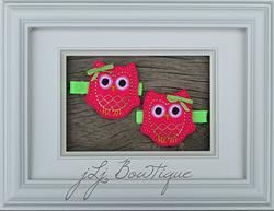 Hot Pink & Lime Green Owl Hair Clips -$5.00 for pair available on jLj Bowtique