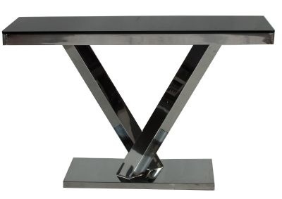 The Harper Black Glass Console Table with Steel Base