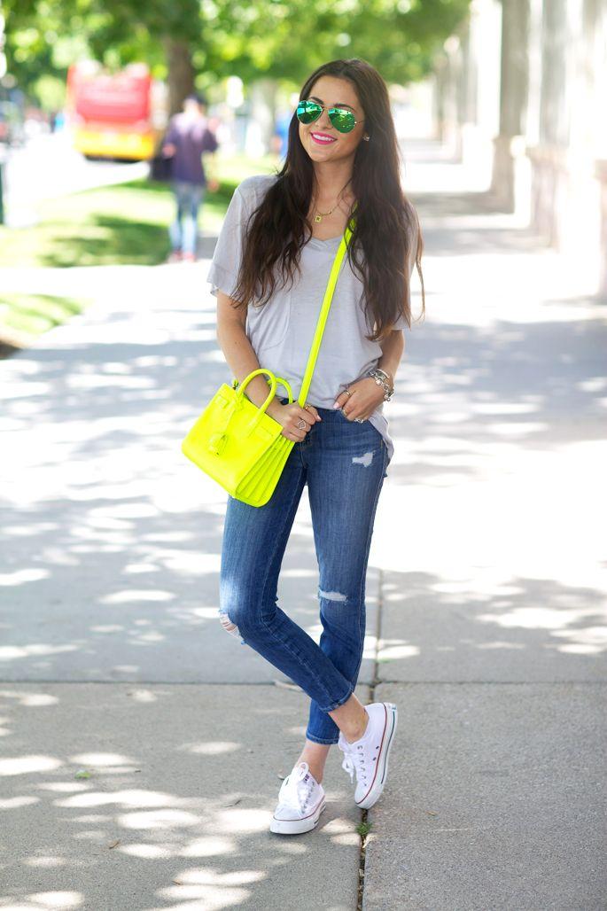 Tee: Sosie   Denim: Current Elliott   Bag: Saint Laurent   Shoes: Converse   Glasses: Ray-Ban   Earrings: Nordstrom   Ring: KiraKira   Bracelets: David Yurman (here, here)   Lips: Candy Yum-Yum by MAC