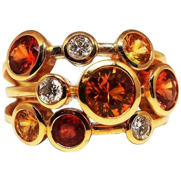 Preowned Golden Red Sapphire Cocktail Ring (10.980 BRL) ❤ liked on Polyvore featuring jewelry, rings, cocktail rings, red, 18 karat gold ring, 18k jewelry, red ring, preowned jewelry and 18 karat gold jewelry