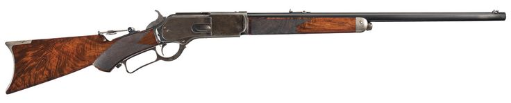 riflepistolshotgun: Deluxe, Special Order, Winchester Model 1876 .50 Express Rifle This is a restored example of a Winchester Model 1876 .50 Express Rifle that was manufactured in 1879. The rifle features a special order, 24-inch round barrel with half-magazine and deluxe fancy grain checkered walnut forearm and pistol grip stock. The barrel, magazine and loading gate are blued. The forearm cap and crescent buttplate are silver-plated and the frame, dust cover, hammer, and lever are color…