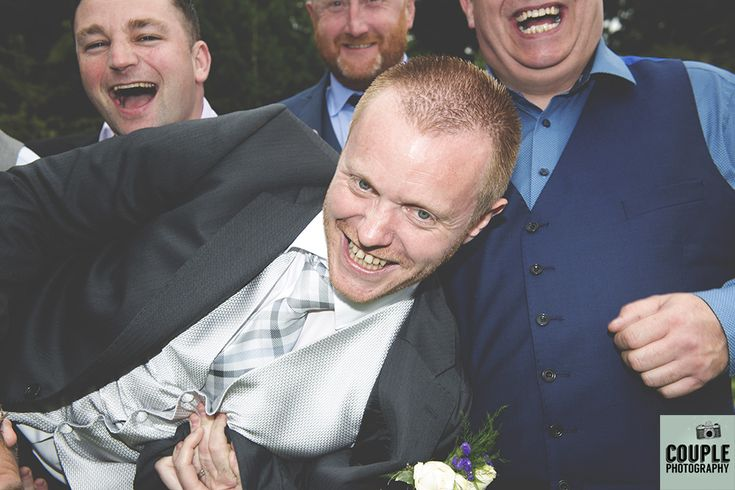The groom being picked up by the lads. Weddings at Rathsallagh House Hotel by Couple Photography.