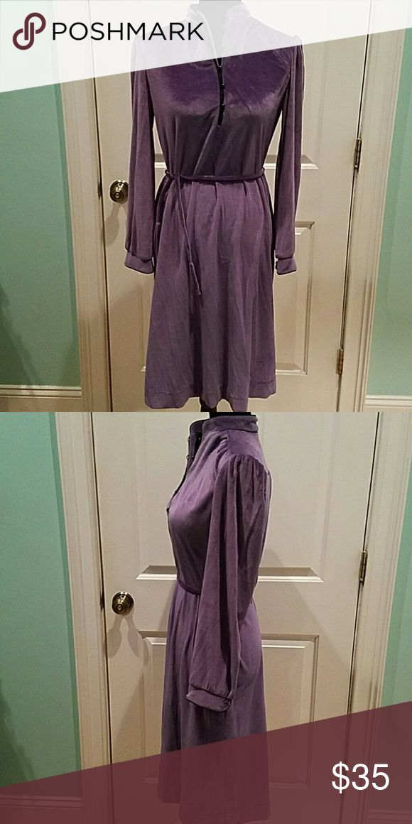 "VINTAGE 70'S LILAC VELOUR DRESS Everything about this dress is fabulous, from the color to the fact it is in great condition.  I love the black piping and buttons and the puffy shoulder detail, so sweet. The bust is 38"", waist is 36"" and the length is 41"". Vintage  Dresses"