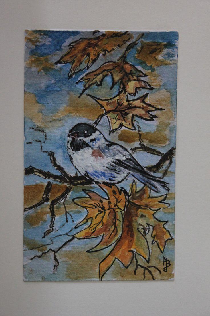 vogeltje op herfst tak J. Biemans