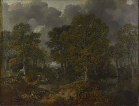 Thomas Gainsborough: 'Cornard Wood, near Sudbury, Suffolk' 1748.   Muted tones of the woods and the dark gathering clouds shows a typical day in the countryside in England back then. The trees are painted in a realistic manner and the people are not the highlight of this piece for they are small. Light feathery strokes are used to create a sense of fullness in this piece.And the springiness of the moss and shrubs are captured well.