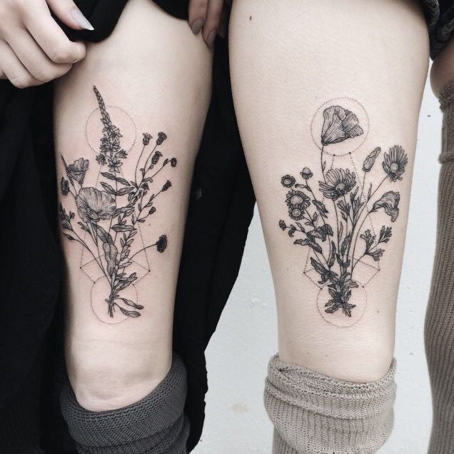 Delicate geometric flowers/floral design - tattoo More