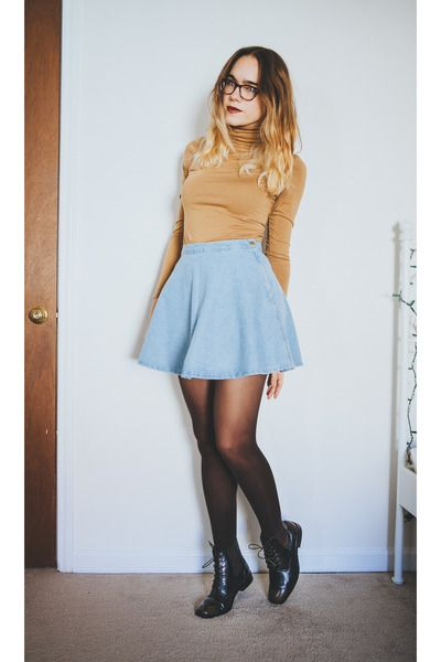 Boots, Denim, skater skirt, skirt, fall, turtleneck, tights, girly