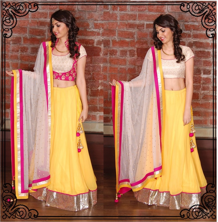 Dress it up or dress it down with a plain yellow lehenga and white brocade blouse with a pink koti
