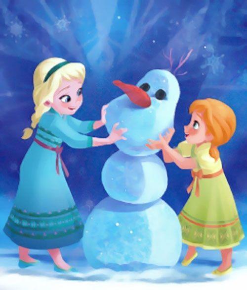 elsa amp anna as children frozen 2013building olaf