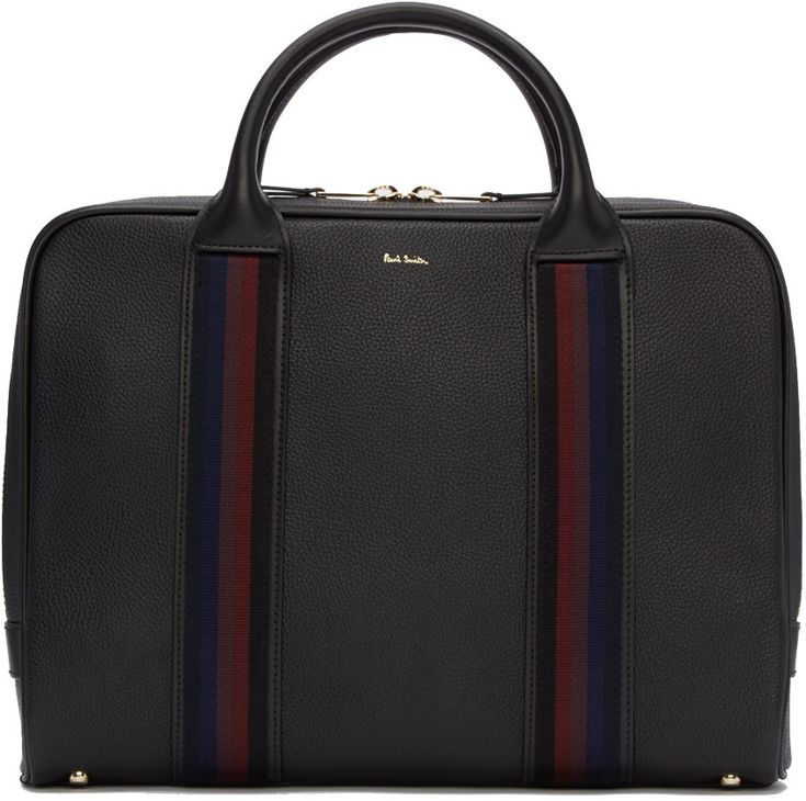 PAUL SMITH Black Portfolio Briefcase. #paulsmith #bags #leather #hand bags #lining #