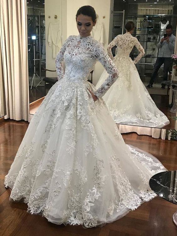 Luxurious Ball Gown High Neck Long Sleeves White Lace Long Wedding Dresses  with f76a0300fa53