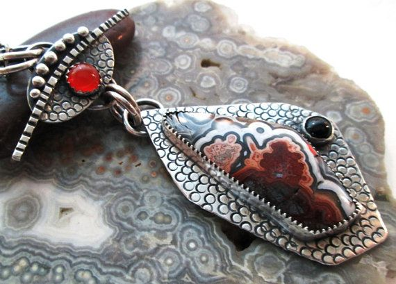 Stunning Crazy Lace Agate Pendant in Sterling by The Red Poppy Shop, $159.00