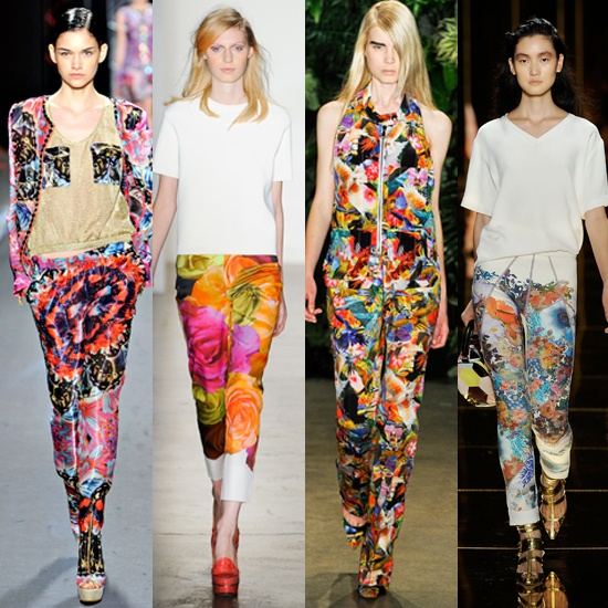 Power Florals    Hyperbright florals were everywhere, including on pants.
