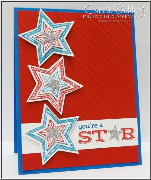 Stampin' Up!, Be The Star, Star Framelits, Patriotic, grad, #stampinup, Connie Babbert, www.inkspiredtreasures.com