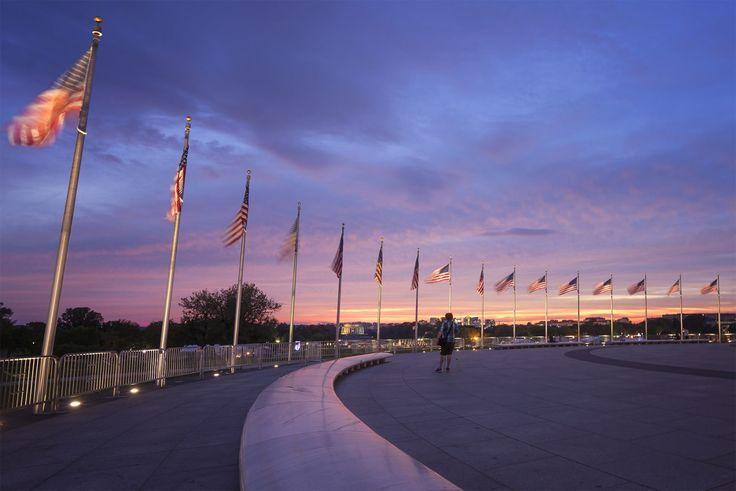 american flags, washington monument, sunset, national mall, reflection, photographer, washington dc, monument,