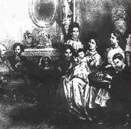 Kaiser Franz Joseph, Gyula Andrássy, die Amme, stehend Ida Ferenczy, Elisabeth mit der kleinen Marie Valerie, Gisela, Rudolf, Gräfin Marie Festetics
