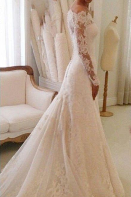 Scalloped Lace Chapel Train Trumpet Long Sleeves Wedding Dress - Shedressing.com