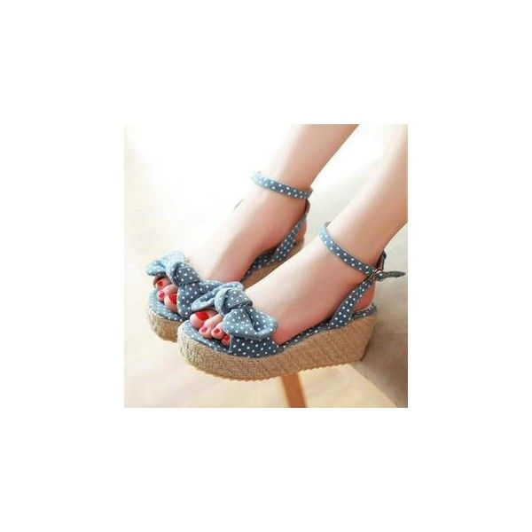 JY Shoes Dotted Bow-Accent Platform Wedge Sandals (49 CAD) ❤ liked on Polyvore featuring shoes, sandals, footware, famous footwear, high heel shoes, dark blue shoes, high heel platform shoes and platform wedge sandals
