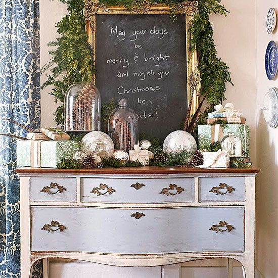 Colors that are festive without being exclusive to one season are a great way to ensure your decorating accents remain transitional from month to month. For example, cheery silver and gold orbs add welcome textural contrast to end-of-season landscape items, such as pinecones, displayed under glass cloches.
