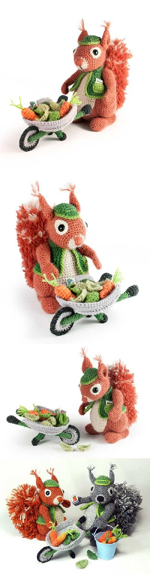 Cyril the gardener squirrel - English pattern designed by Moji-Moji design.   $ 5.90 - Found at Amigurumipatterns.net