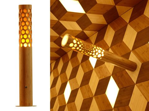 Taiwanese designerJeff Dah-Yue Shi, combinesbamboo & dimmable LEDs into wall, ceiling & floor mounted luminaries. Rhombic forms, backed by an LED source, permeate tempered glass or a thin bamboo veneer. Source designboom