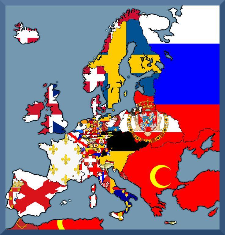 Europe Flag map 1658