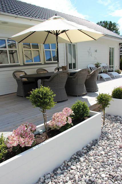 Terrific use of planters to frame your deck area. Mix mosquito repellent plants in to keep sitting outdoors enjoyable!