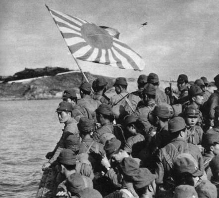 daihatsu landing craft transporting soldiers of the special naval landing force during the invasion of the ducht east indies