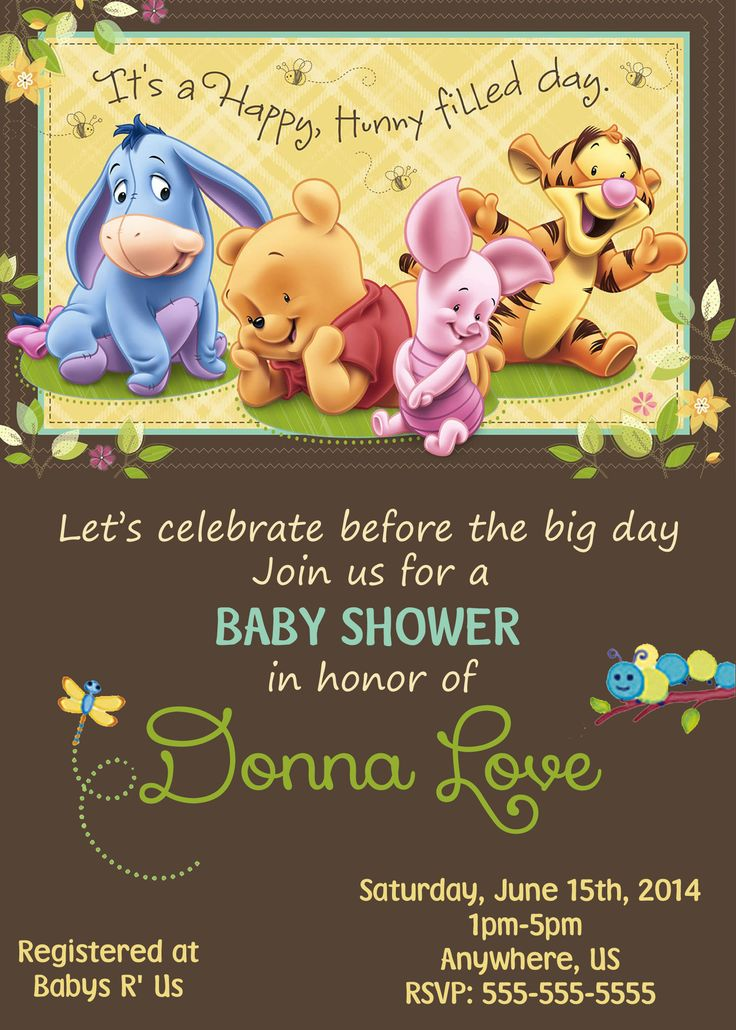 Winnie The Pooh Baby Shower Invitations Part - 34: Baby Winnie The Pooh Baby Shower Invitations $8.99