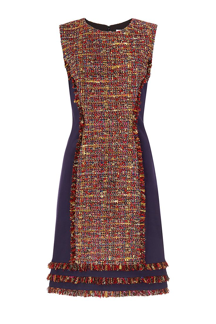 The DVF Jacey dress is a chic shift in a colorful tweed with hints of metallic…