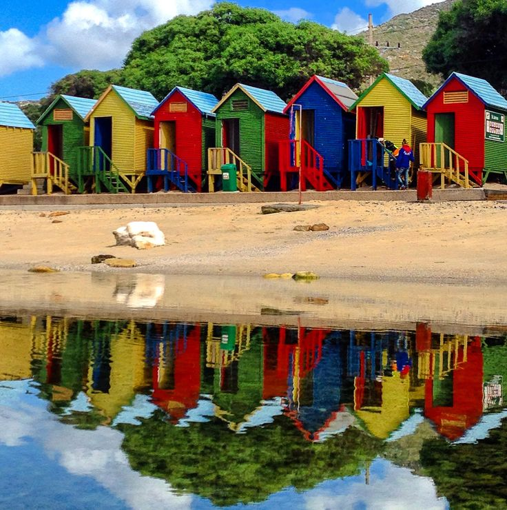 Colourful Huts at St James Beach, Cape Town.