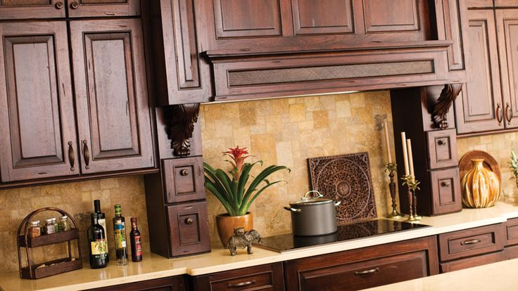 West Indies Inspired Design Collection, Dark Woods Are Used For the Cabinets and Door Styles