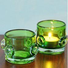 Yeşil, düğme model bardak mumluklar...