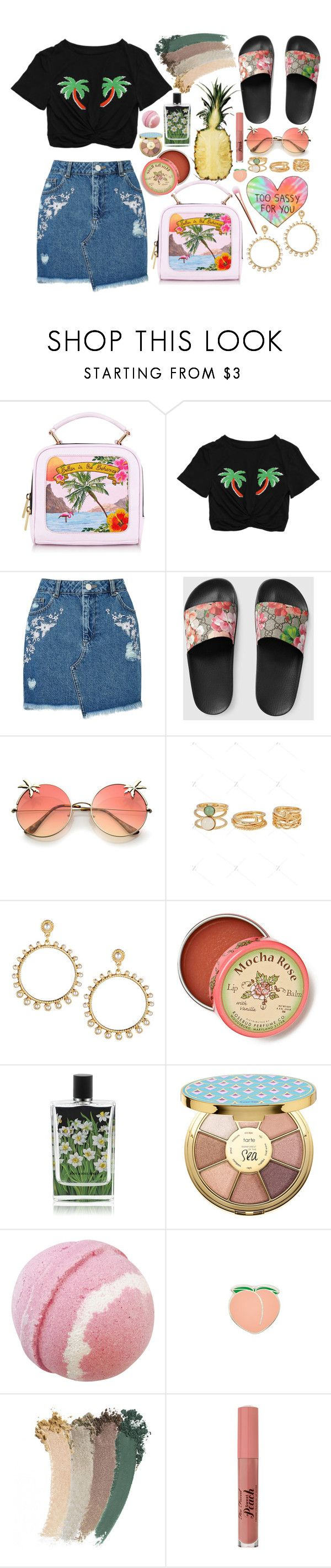 """""""Summer is a state of mind"""" by gabi-sweet ❤ liked on Polyvore featuring Miss Selfridge, Gucci, R.J. Graziano, Anthropologie, Nest Fragrances, tarte and PINTRILL"""