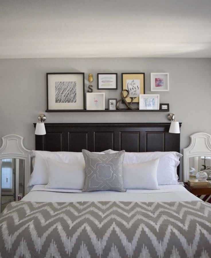 Wall Decoration Behind Bed : Best ideas about headboard shelves on bed