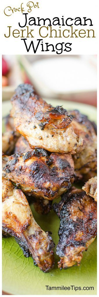 Jamaican Jerk Chicken Wings Recipe you make in the crock pot! Yes it's true! Perfect for Super Bowl Football parties or any day you need a great appetizer! These are so easy and taste amazing!