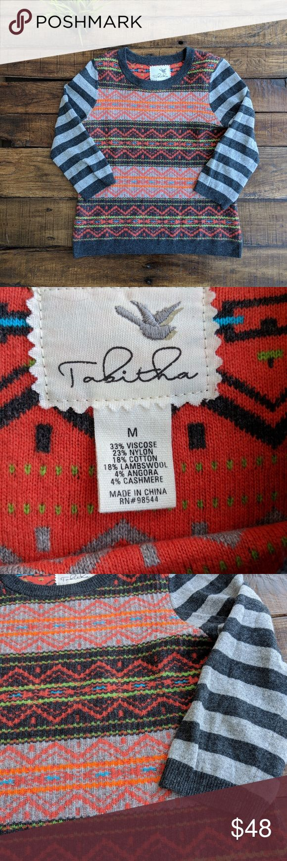 Anthro Tabitha Colorful Fair Isle Pullover Sweater Super cute, great condition Anthropologie's Tabitha neon colorful fair isle/zig zag knit and design pullover sweater with striped sleeves. Perfect light weight sweater for fall or layering.  MEASUREMENTS (INCHES): CHEST: 18 LENGTH: 23 SLEEVE: 18 1/2 SHOULDER: 14 Anthropologie Sweaters Crew & Scoop Necks