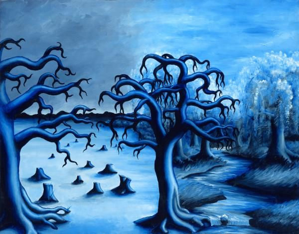 This Is An Interesting Landscape Using All Blue Hues Gives It Cold Chilling Feeling Monochromatic Color Value In Your Art Can Draw Out What