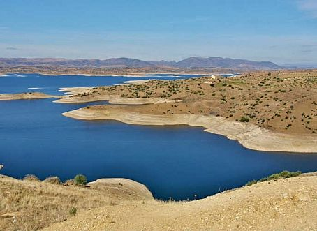 Categorie: Landschappen Marokko blauw meer  Prijs per kaart vanaf: € 2,65 excl. porto Wenskaart is geheel naar eigen wens aan te passen, tekst, figuur of foto. www.wenskaartenshop.droomcreaties.nl