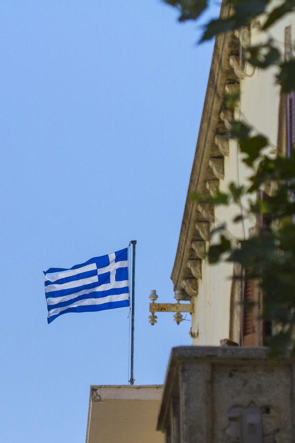 Greek Flag flying in Kos, Greece
