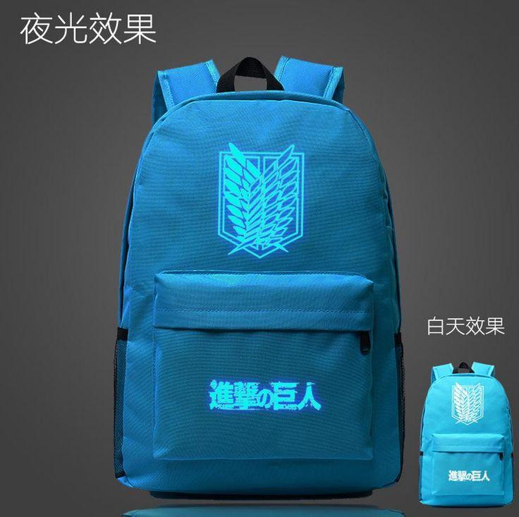 Attack on Titan Wings of Liberty Anime Printing Casual Luminous School Bags Travel Bag Nylon Backpack