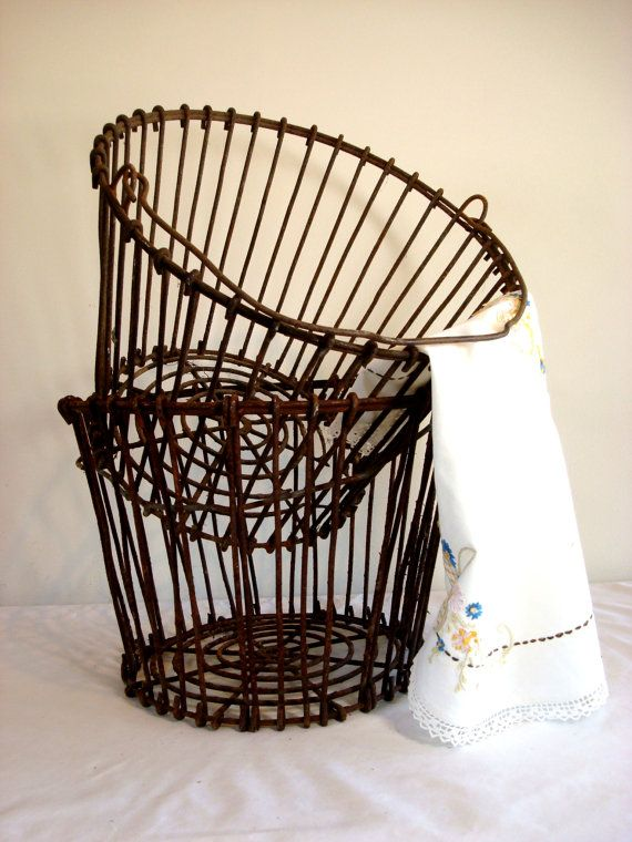 Vintage French Potato Basket with aged Brown Wire  by ChaseVintage, $75.00