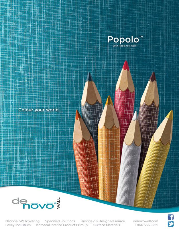 DeNovo Walls POPOLOTM Wallcovering With Radiance WallTM Advertisement For January 2014 Issue Of Interior Design Magazine Distributed In Canada Exclusively