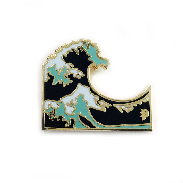 Wave emoji enamel pin