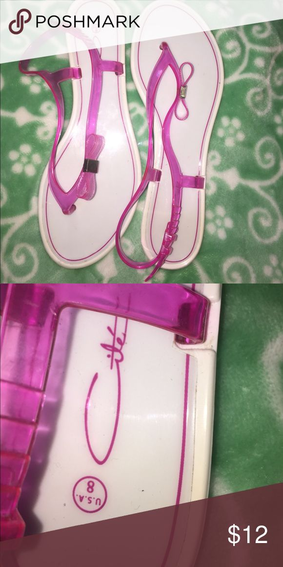 Pink and white plastic sandals size 8 Worn 2-3 times overall great condition. Shoes Sandals
