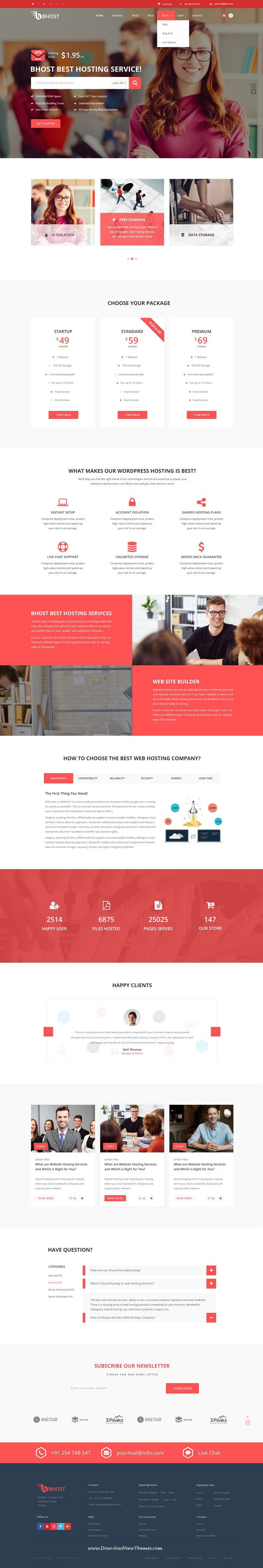Bhost is clean and modern design PSD template for# webhosting company website with 5 homepage layouts and 18+ layered PSD pages to live preview & download click on Visit #psdtemplate