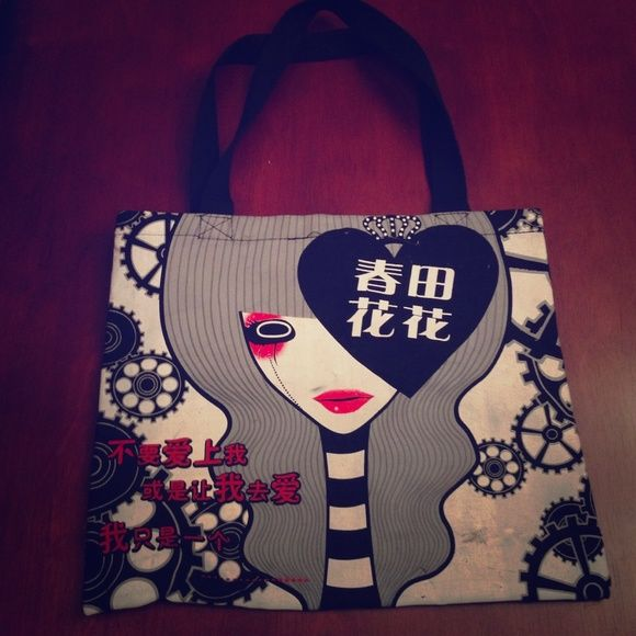 Japanese Sexy Anime Tote Bag-A Gently used as is some marks but should wash out Hot Topic Bags Totes